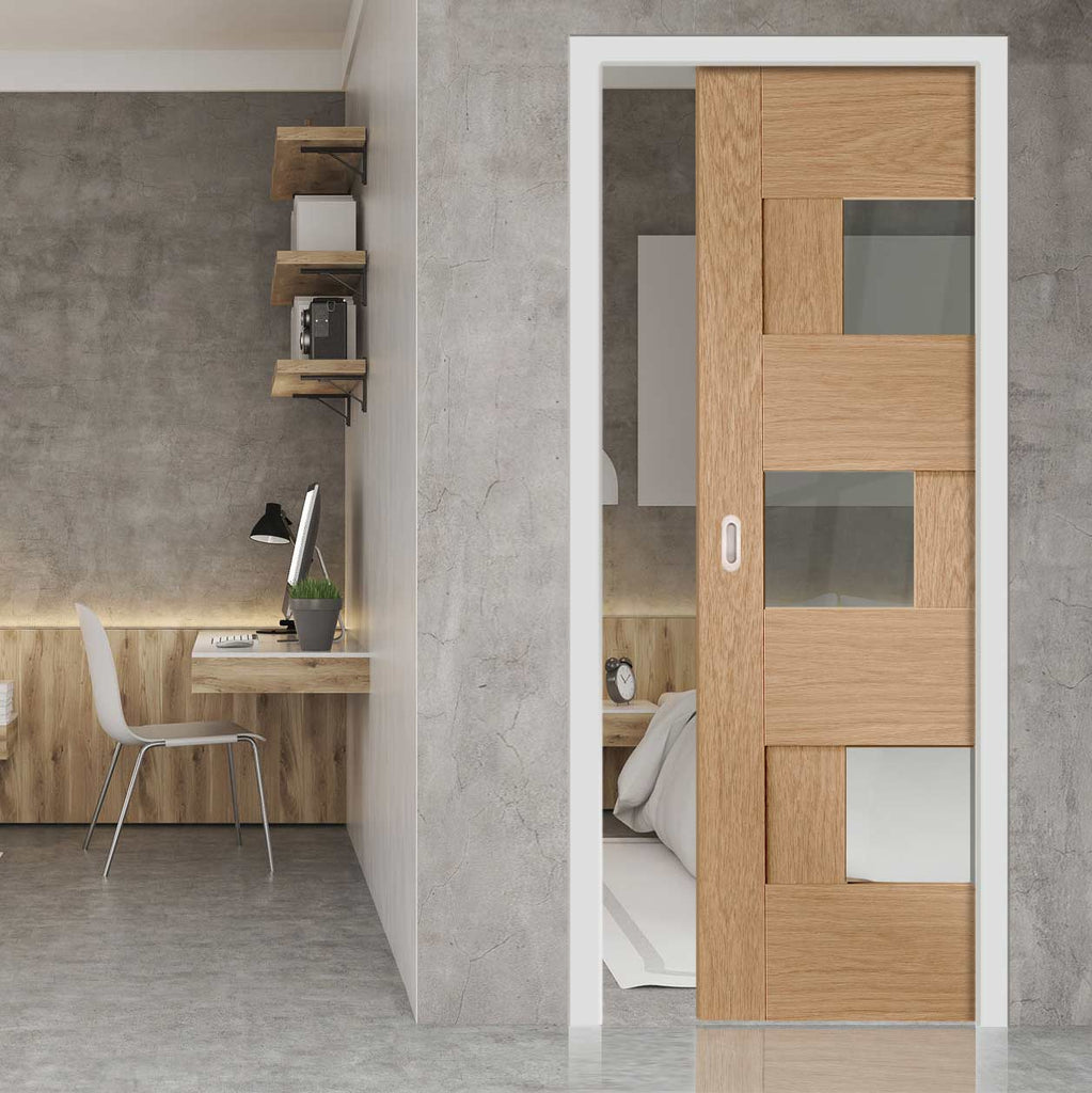 Perugia Oak Panel Single Evokit Pocket Door - Clear Glass - Prefinished