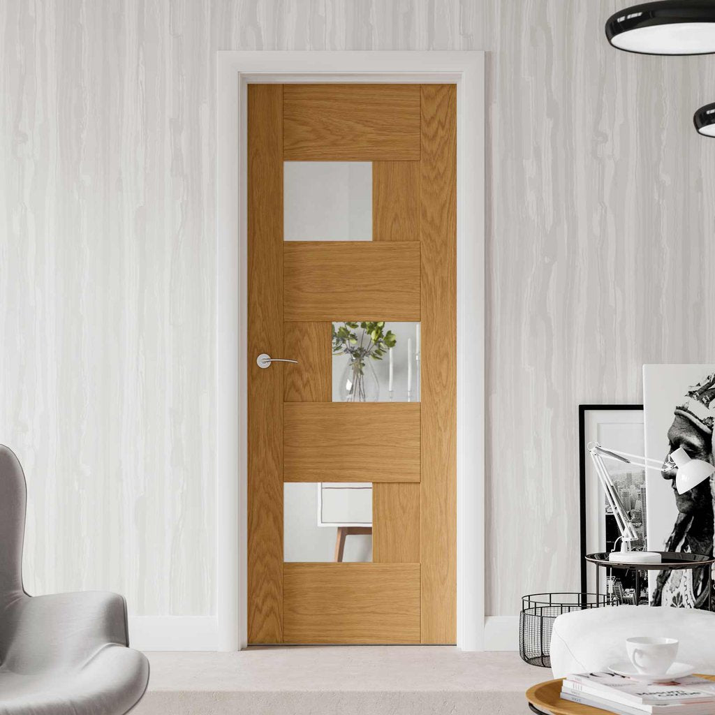 Perugia Oak Panel Door Clear Glass Prefinished