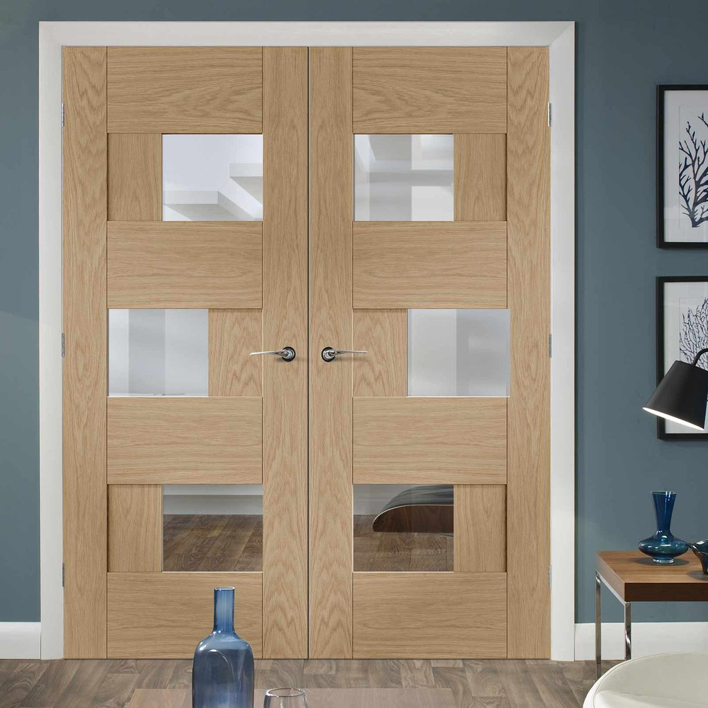 Perugia Oak Panel Door Pair - Clear Glass - Prefinished