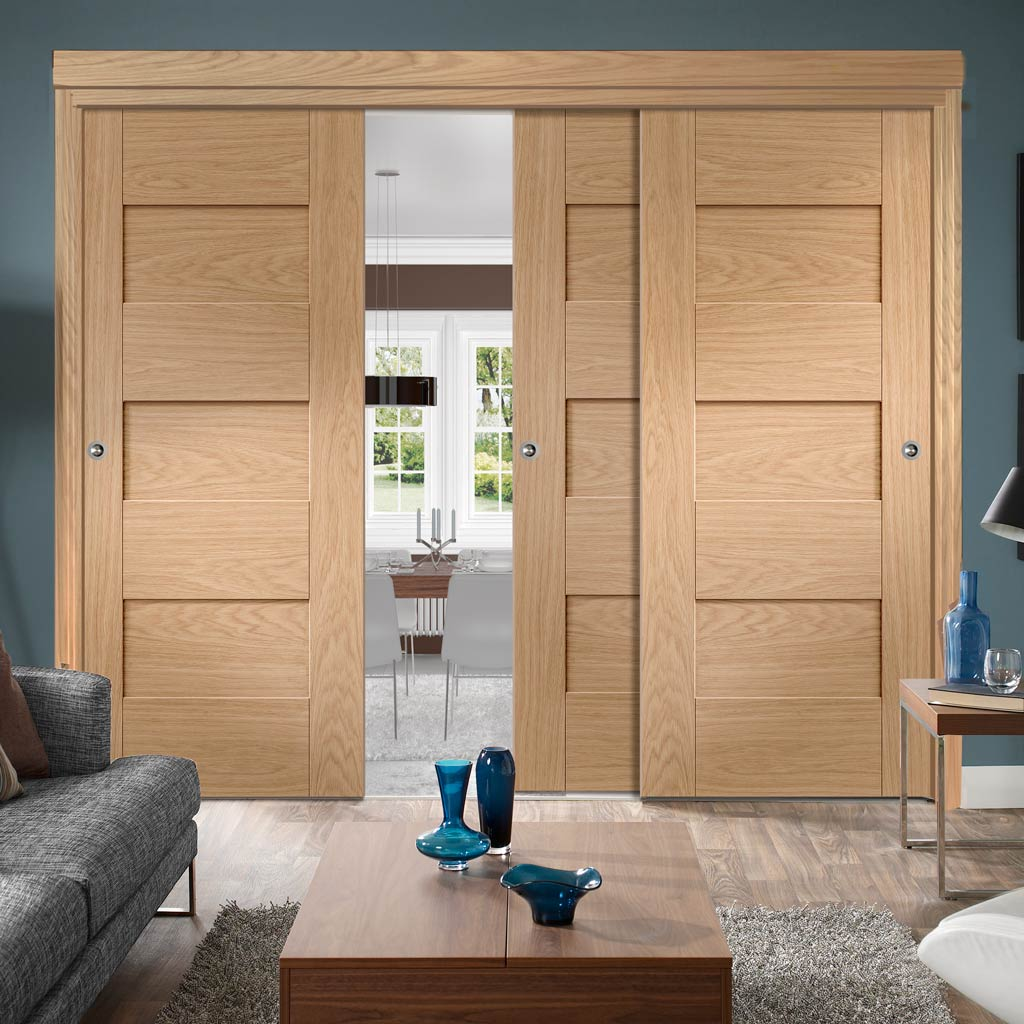 Three Sliding Doors and Frame Kit - Perugia Oak Panel Door - Prefinished