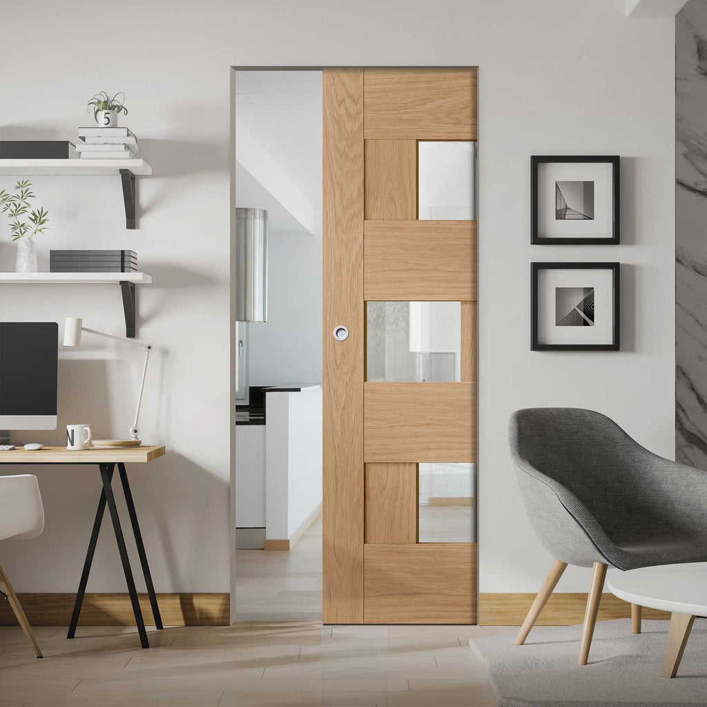 Perugia Oak Panel Absolute Evokit Pocket Door - Clear Glass - Prefinished