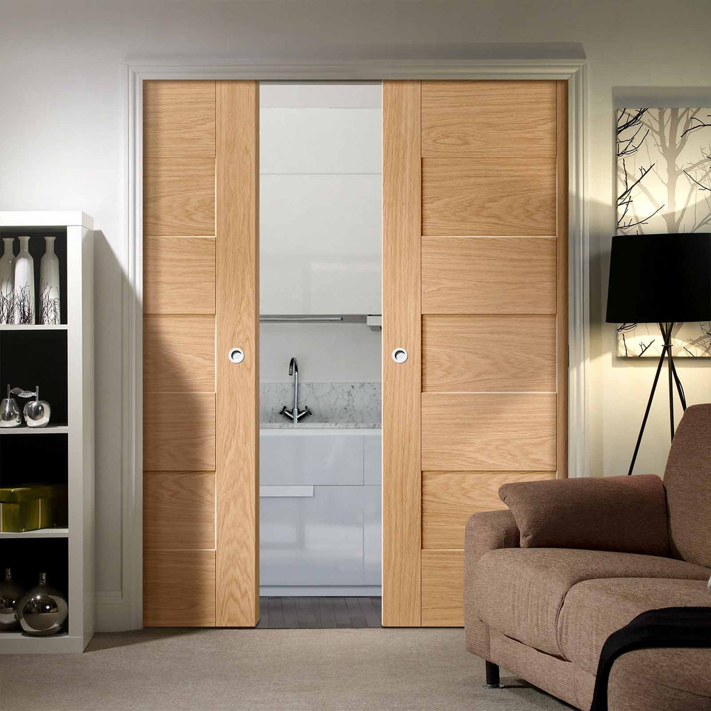 Perugia Oak Panel Double Evokit Pocket Doors - Prefinished