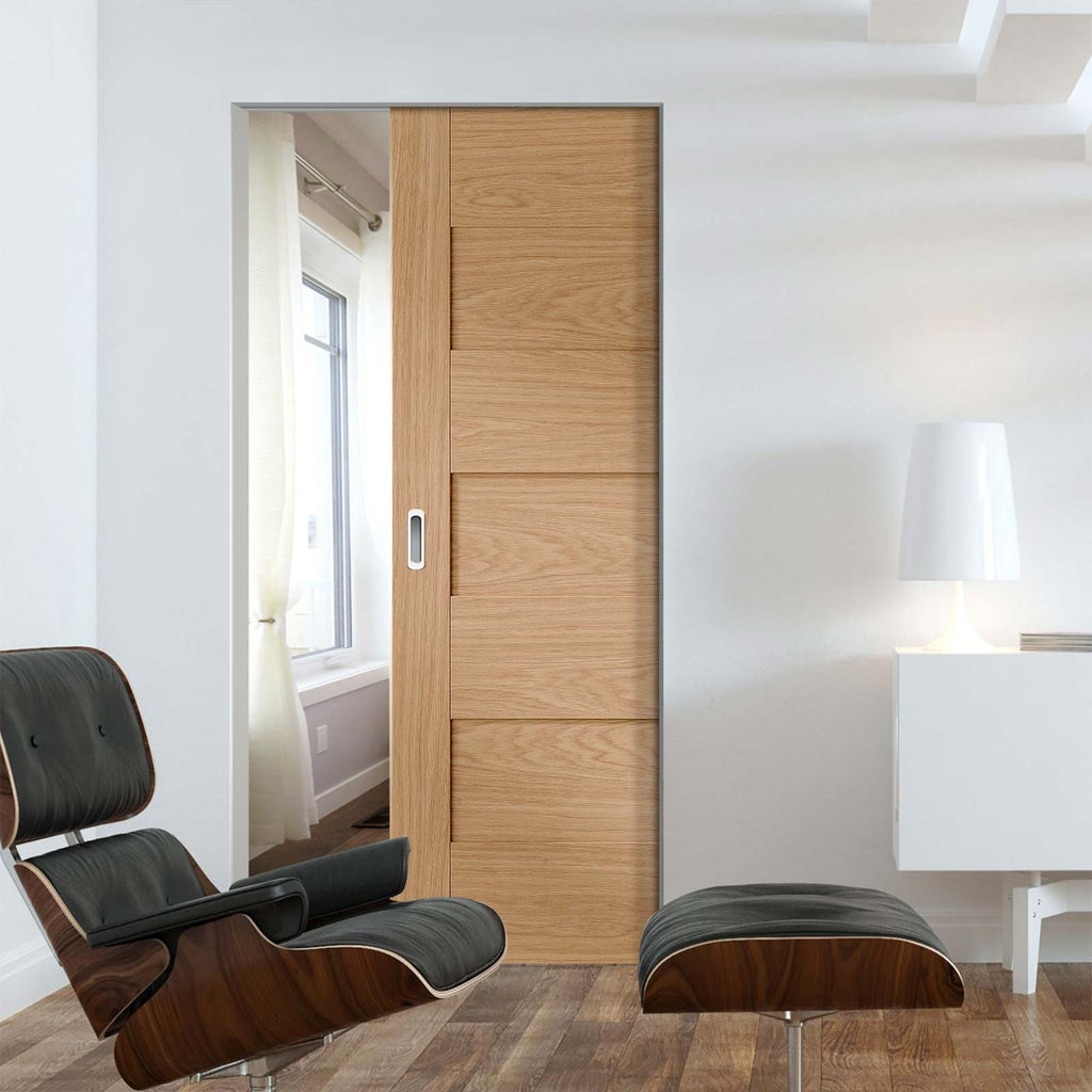 Perugia Oak Panel Absolute Evokit Pocket Door - Prefinished
