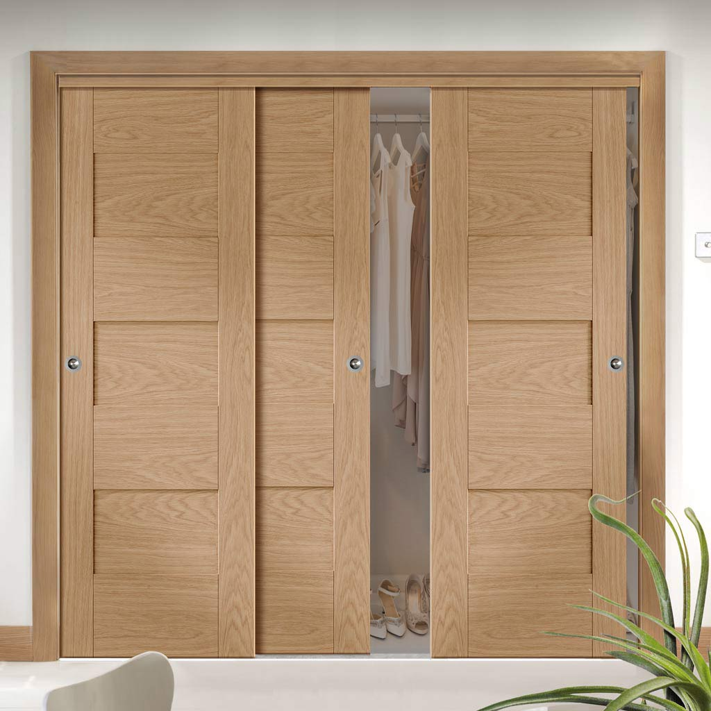 Three Sliding Wardrobe Doors & Frame Kit - Perugia Oak Panel Door - Prefinished