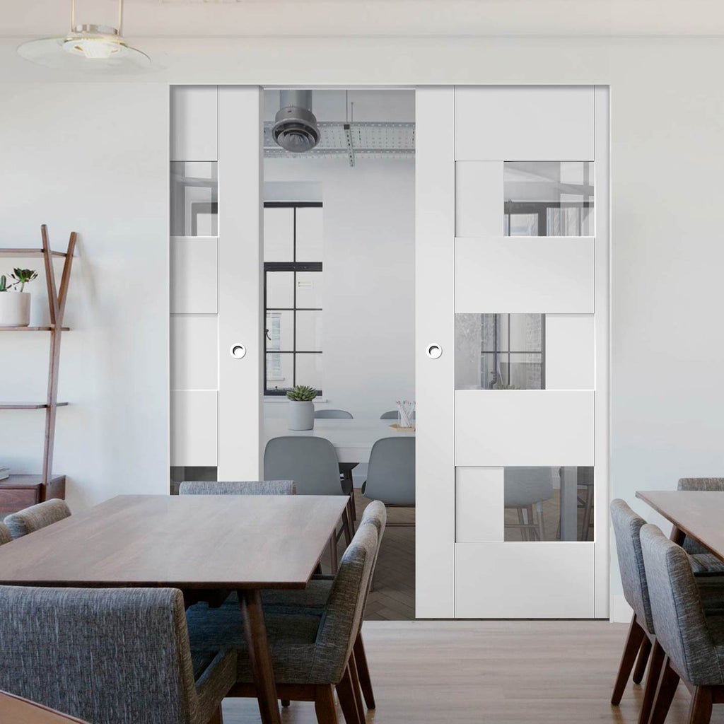 Perugia White Panel Absolute Evokit Double Pocket Door - Clear Glass - Prefinished