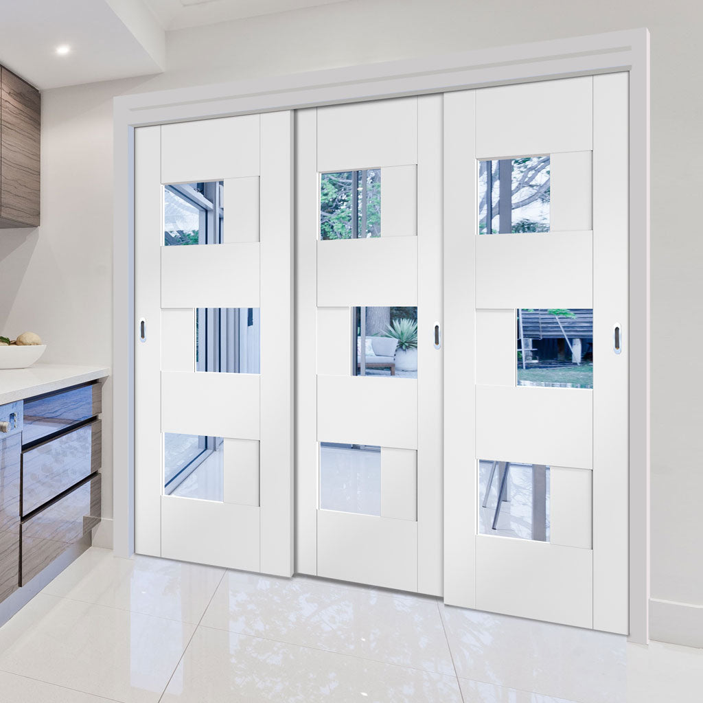 Three Sliding Doors and Frame Kit - Perugia White Panel Door - Clear Glass - Prefinished