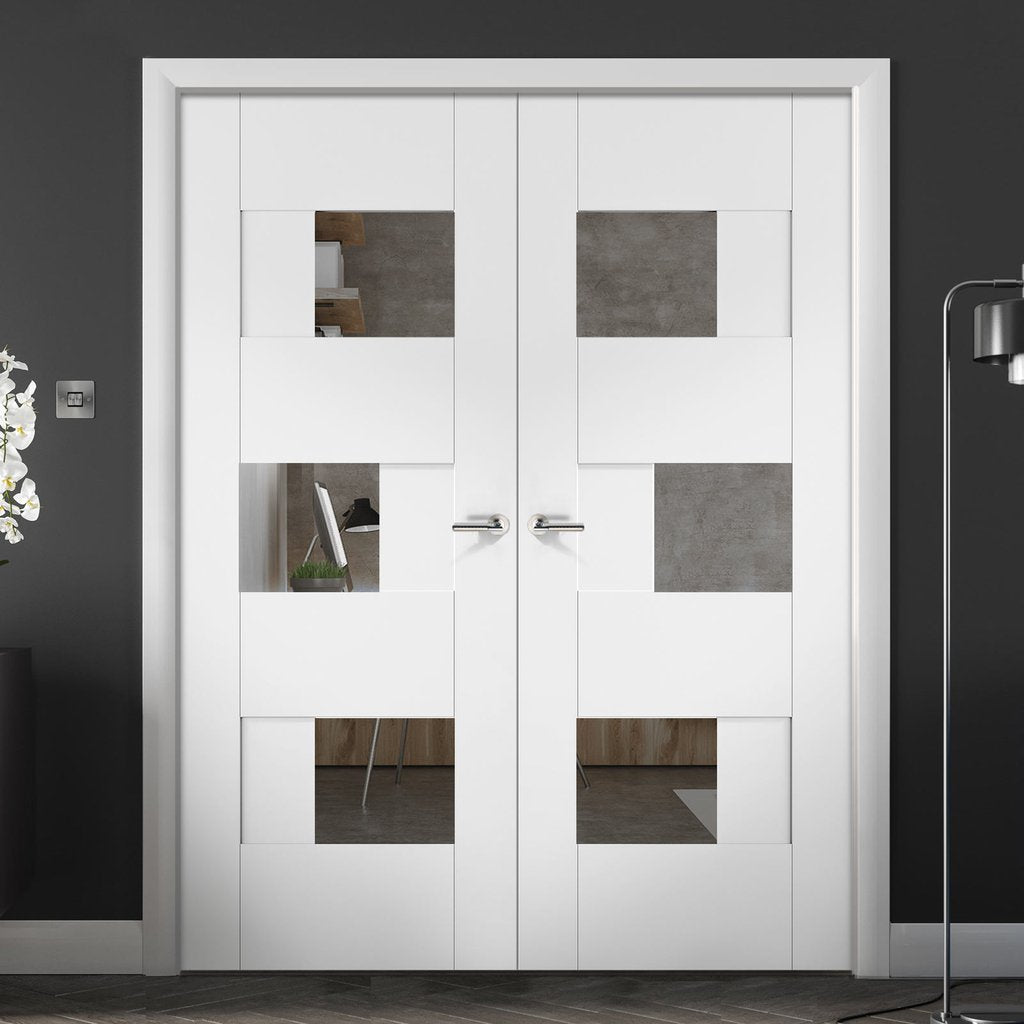 Perugia White Panel Door Pair - Clear Glass - Prefinished