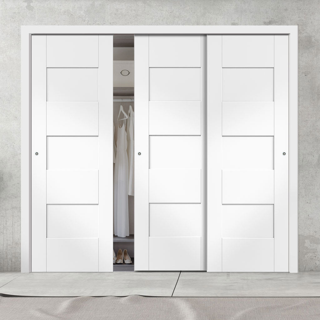 Three Sliding Wardrobe Doors & Frame Kit - Perugia White Panel Door - Prefinished