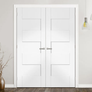 Image: Perugia White Fire Door Pair - 1/2 Hour Fire Rated - Prefinished