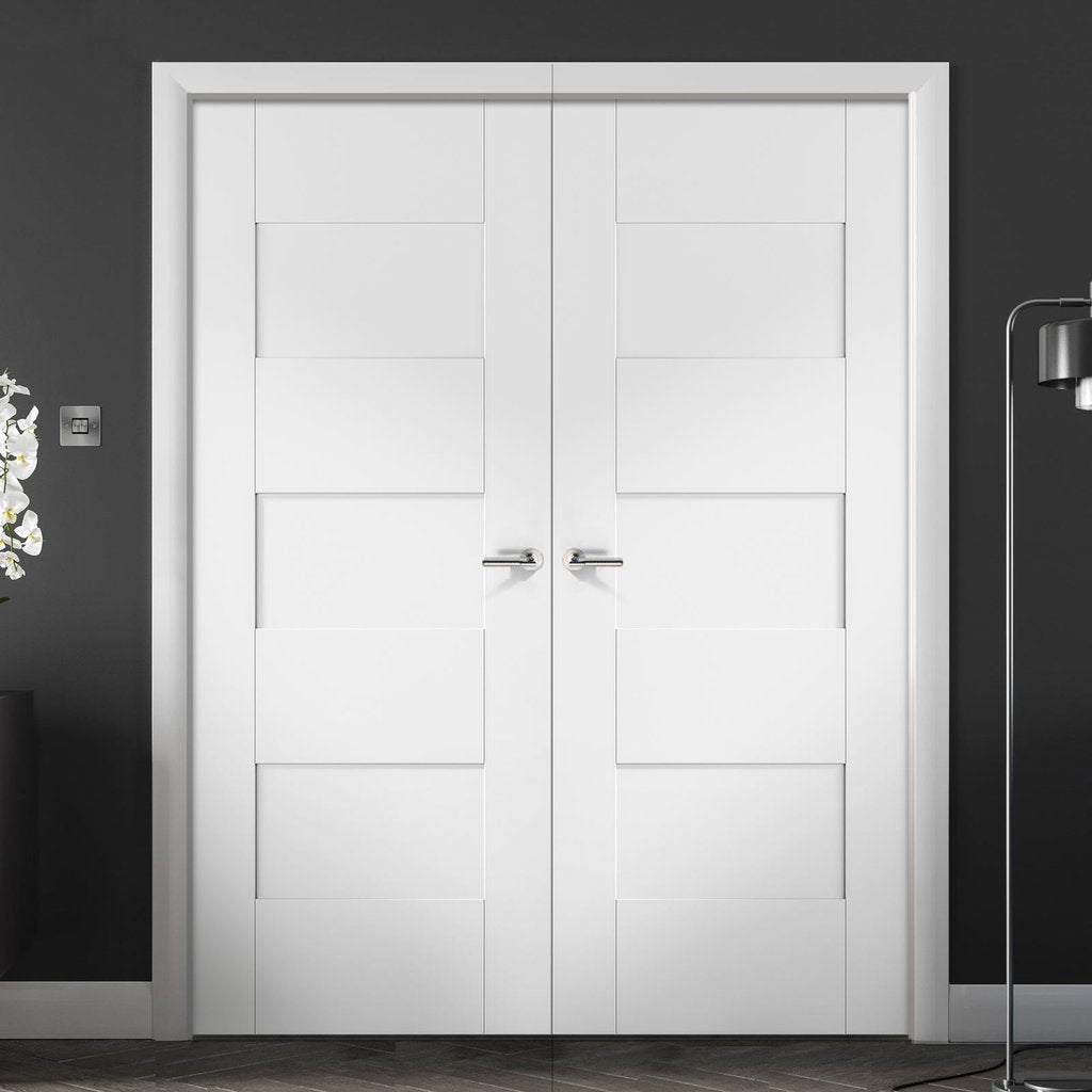 Perugia White Panel Door Pair - Prefinished