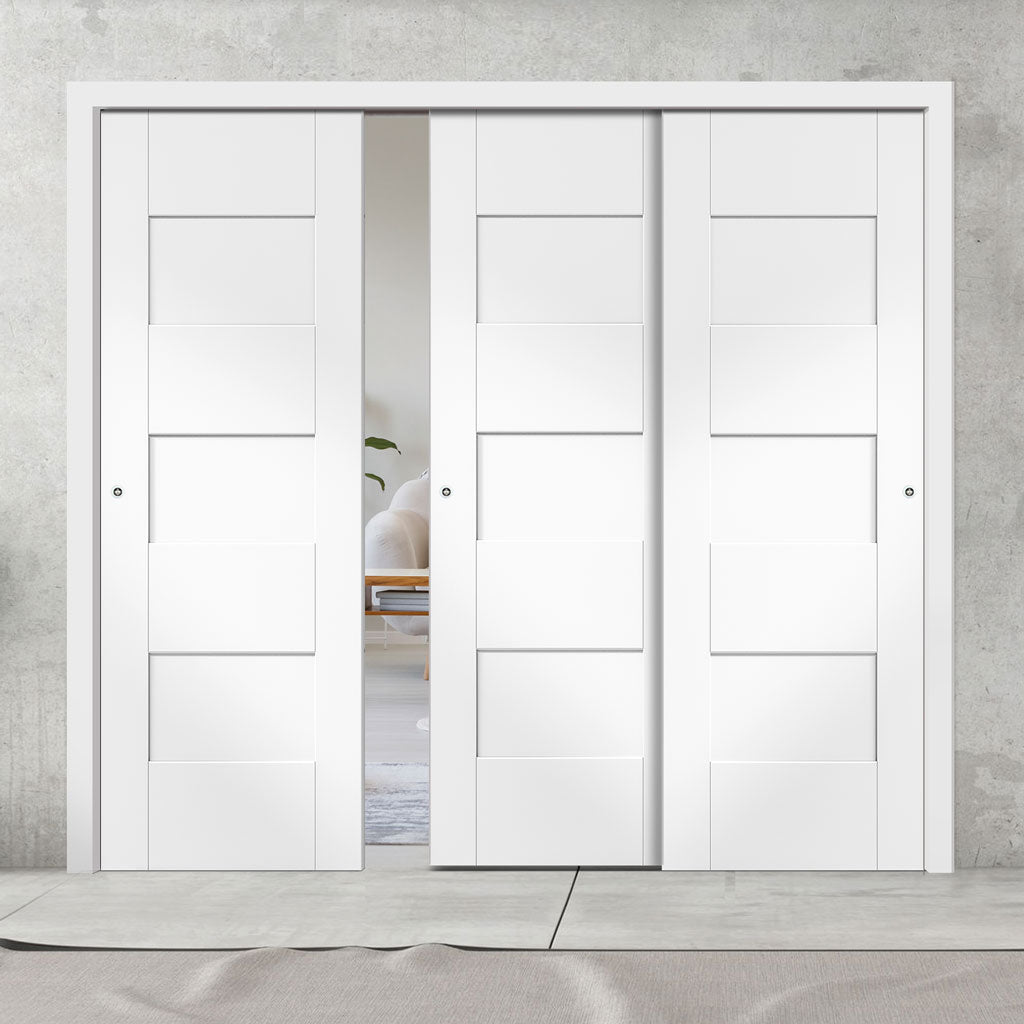 Three Sliding Doors and Frame Kit - Perugia White Panel Door - Prefinished