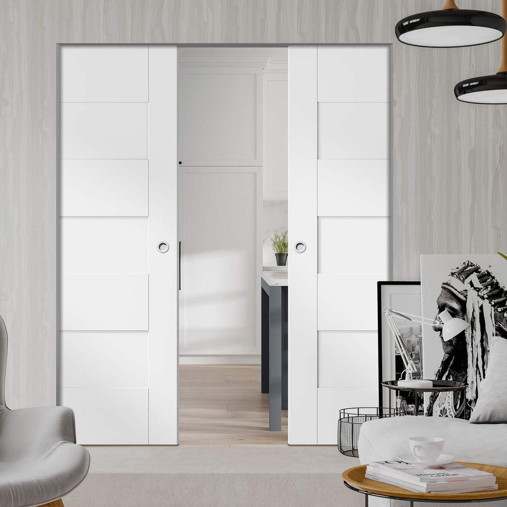 Perugia White Panel Absolute Evokit Double Pocket Door - Prefinished