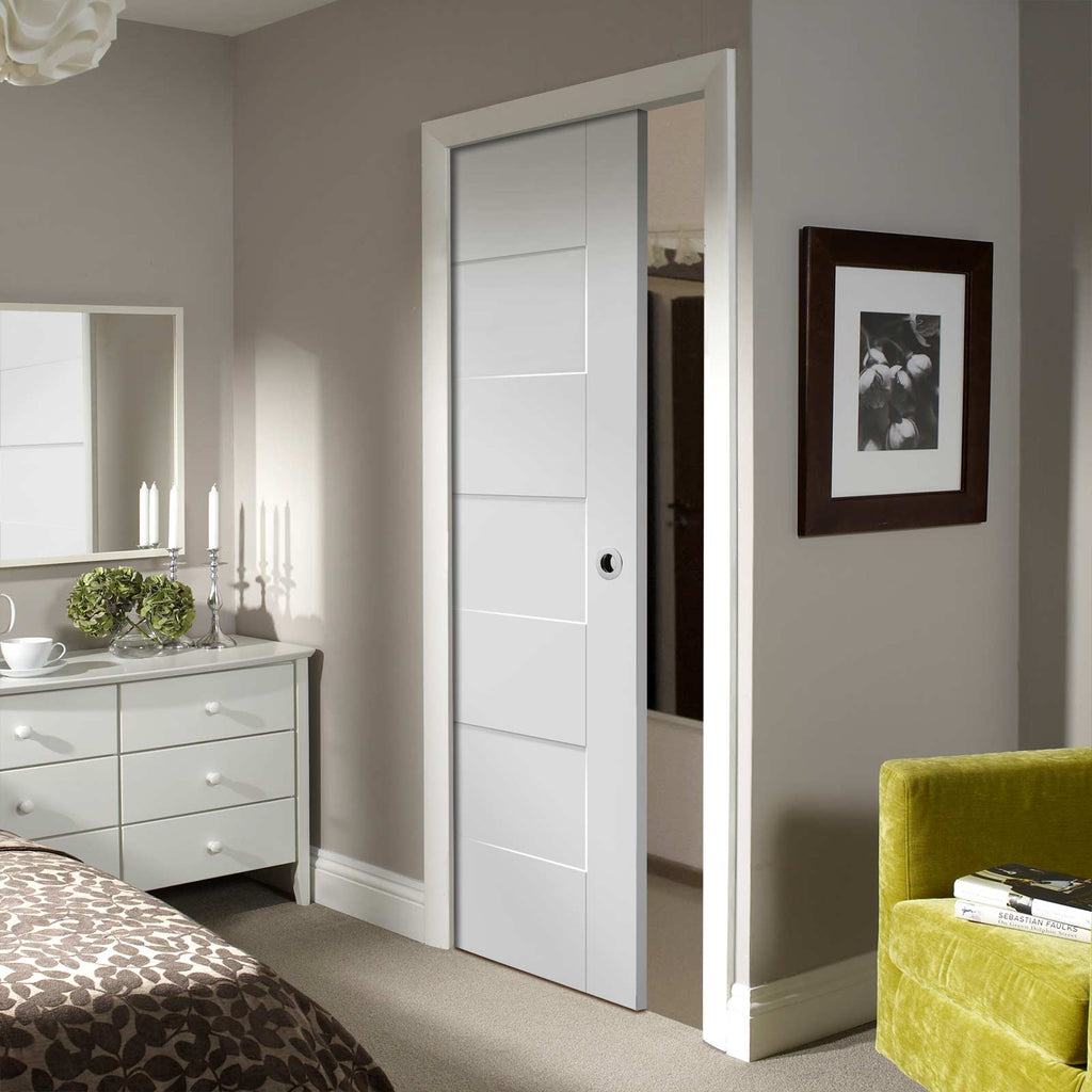 Perugia White Panel Single Evokit Pocket Door - Prefinished