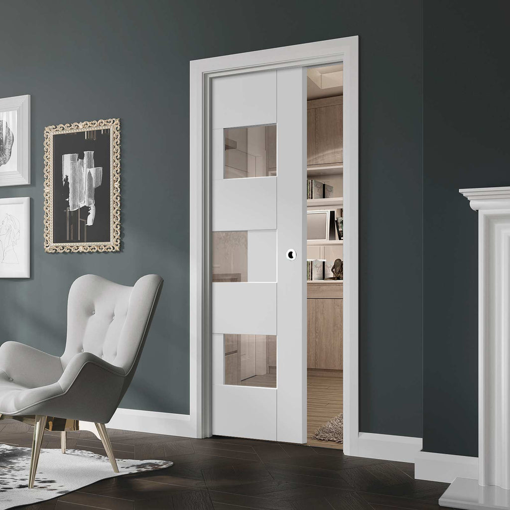 Perugia White Panel Single Evokit Pocket Door - Clear Glass - Prefinished
