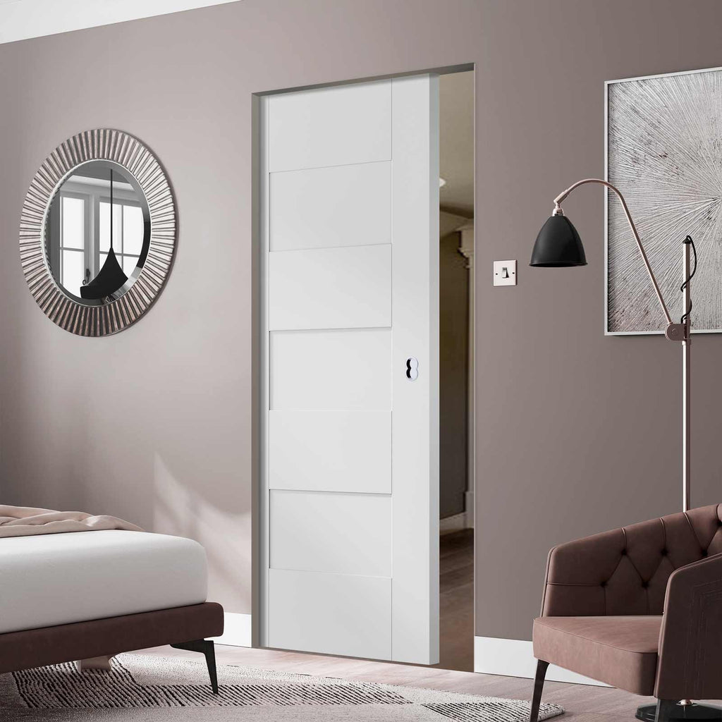 Perugia White Panel Absolute Evokit Pocket Door - Prefinished
