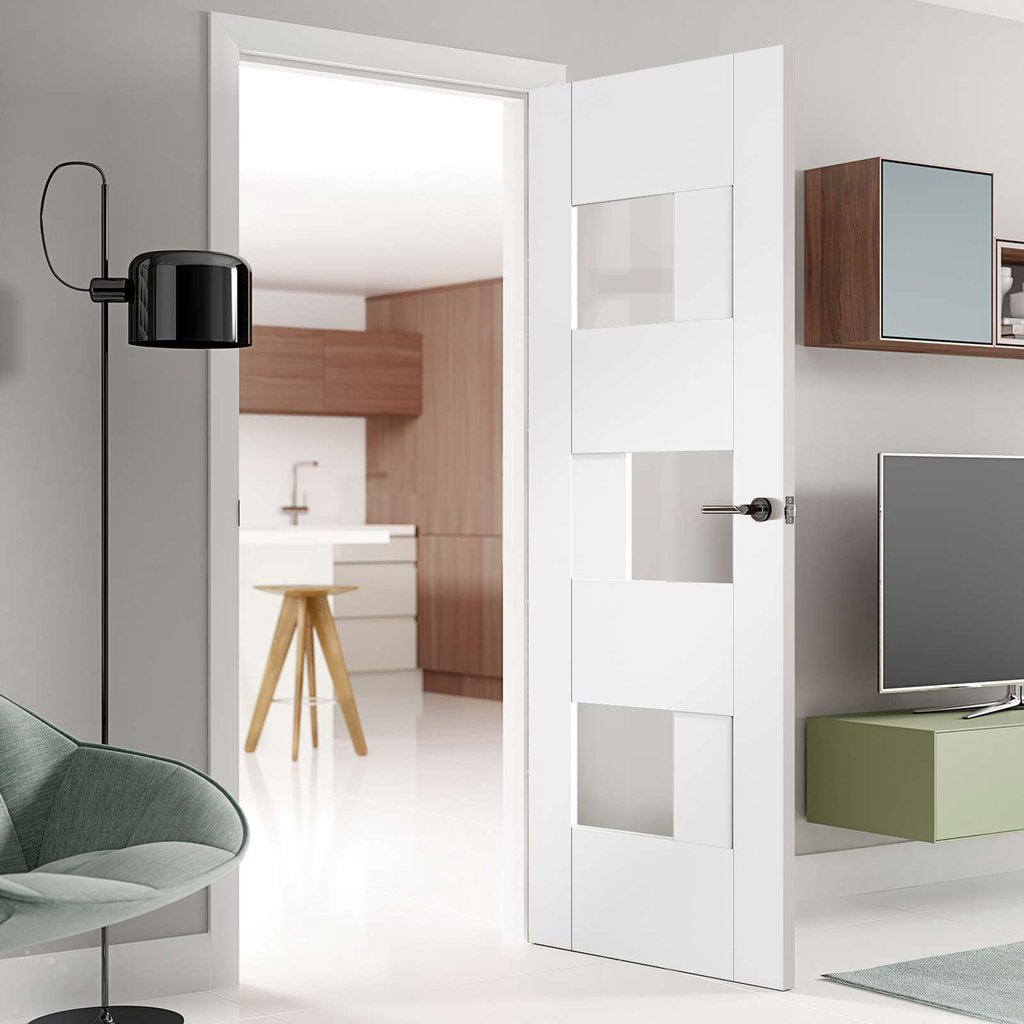 Perugia White Panel Door Clear Glass Prefinished
