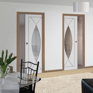 Image: Pesaro Unico Evo Pocket Doors - Clear Glass - Primed