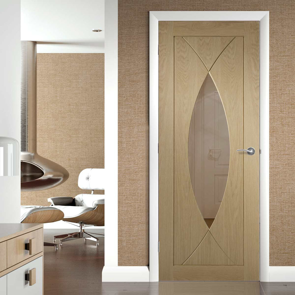 Pesaro oak designer glazed interior door