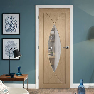Image: Bespoke Pesaro Oak Fire Door - Clear Glass - 1/2 Hour Fire Rated