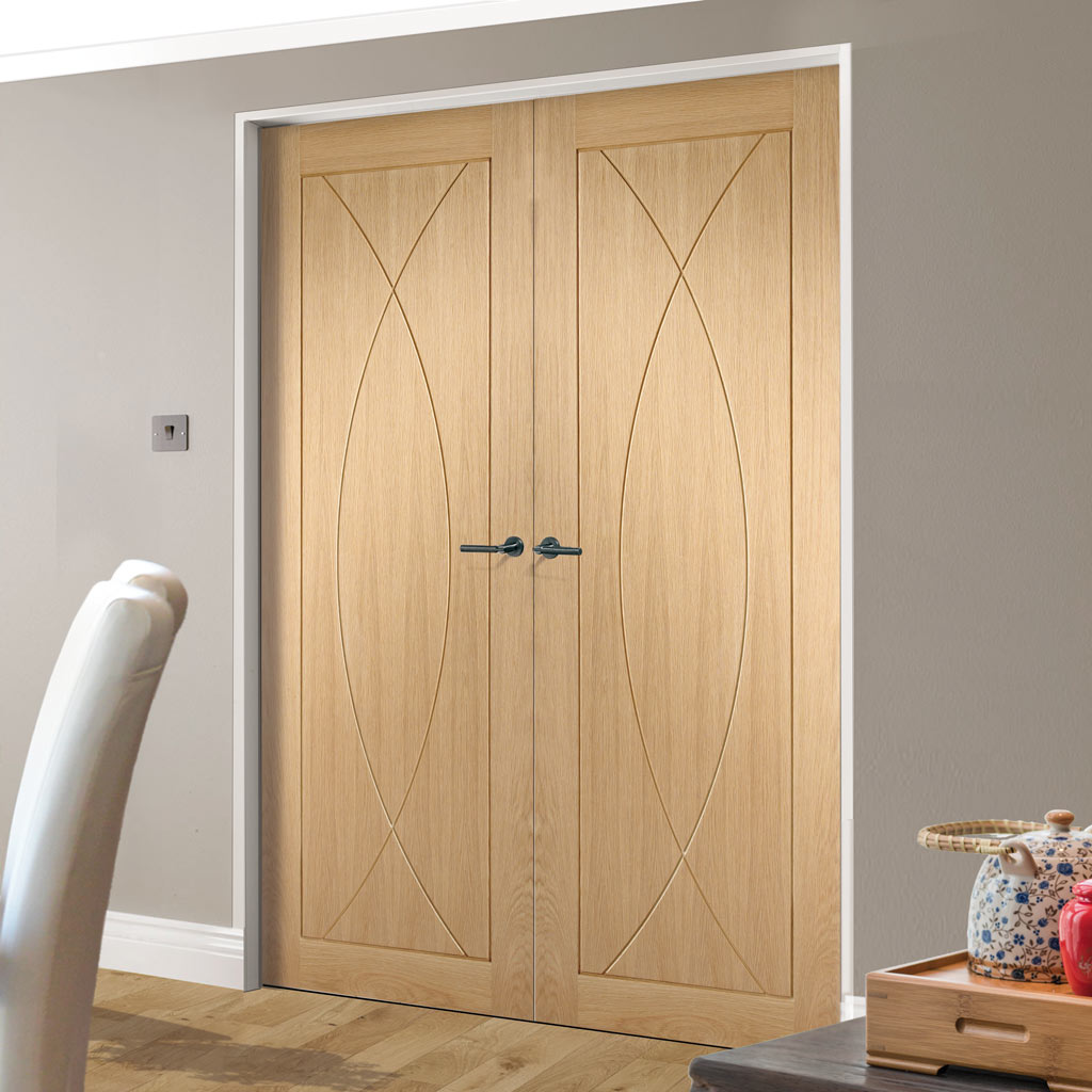 Fire Rated Pesaro Flush Oak Door Pair - 1/2 Hour Fire Rated