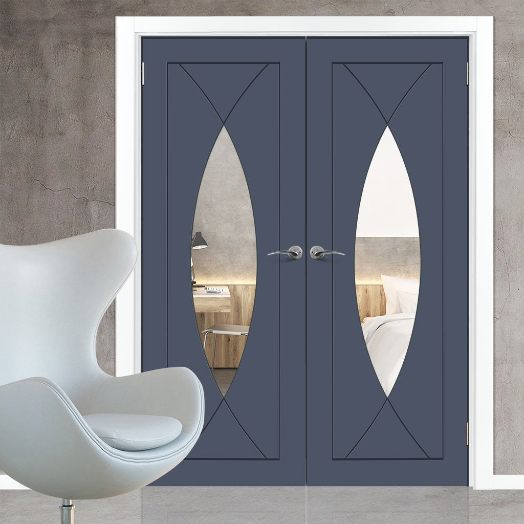 Prefinished Pesaro Flush Door Pair - Clear Glass - Choose Your Colour
