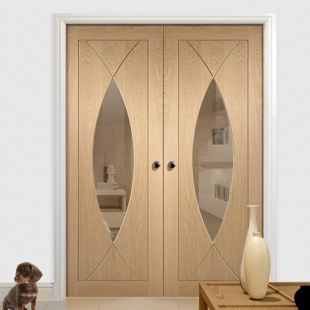 Bespoke Pesaro Oak Glazed Door Pair