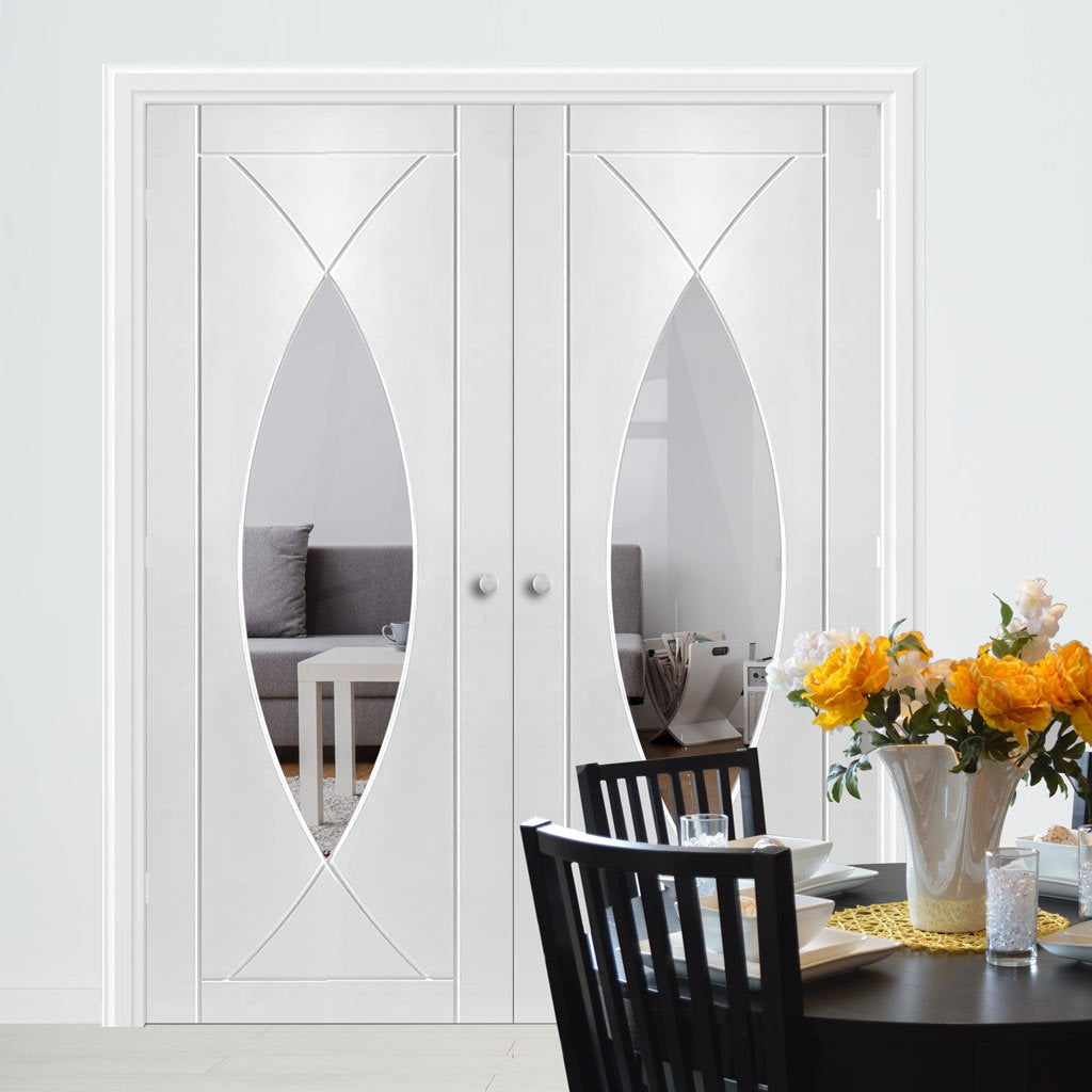 Bespoke Pesaro White Primed Glazed Door Pair