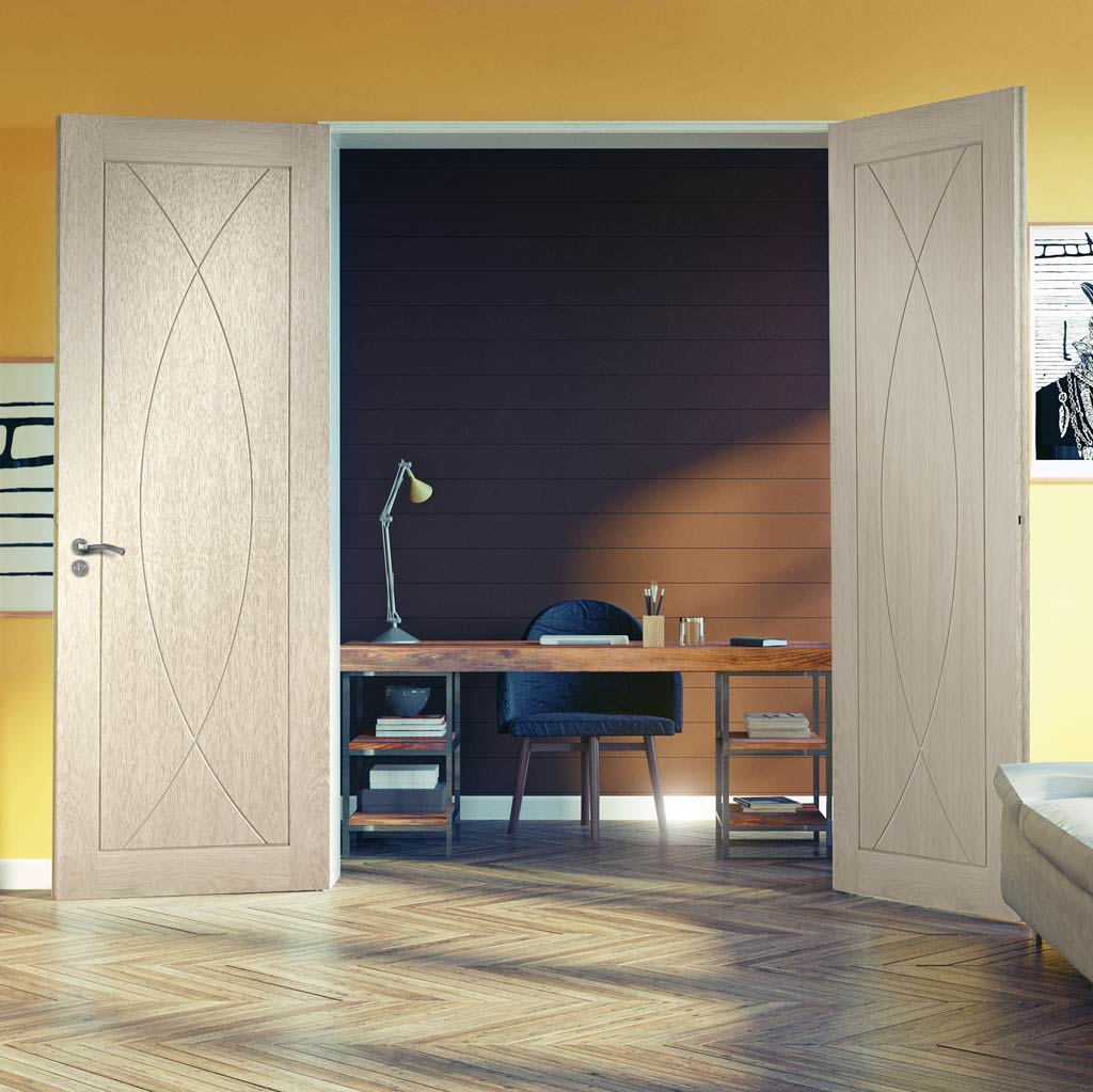 Prefinished Pesaro Oak Flush Door Pair - Choose Your Colour