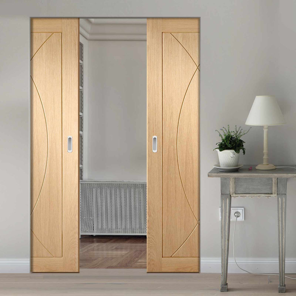 Pesaro Oak Flush Panel Absolute Evokit Double Pocket Door