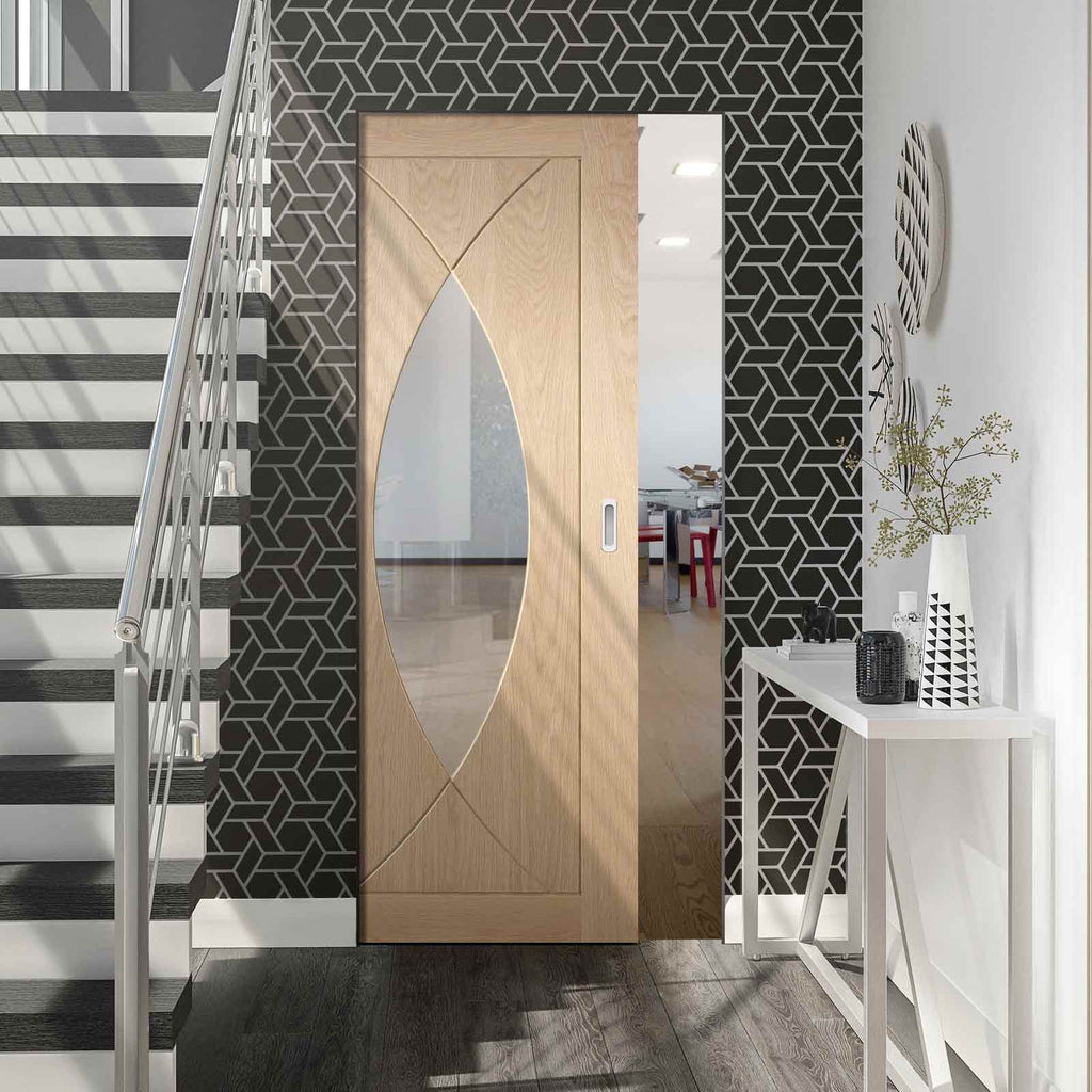 Pesaro Oak Absolute Evokit Pocket Door - Clear Glass