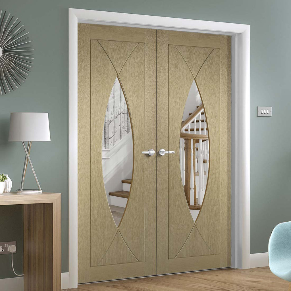 Prefinished Pesaro Oak Door Pair - Clear Glass - Choose Your Colour