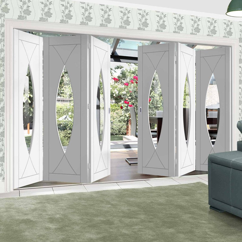 Bespoke Thrufold Pesaro White Primed Glazed Folding 3+3 Door