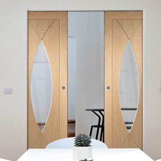 Image: Bespoke Pesaro Oak Glazed Double Frameless Pocket Door - Prefinished