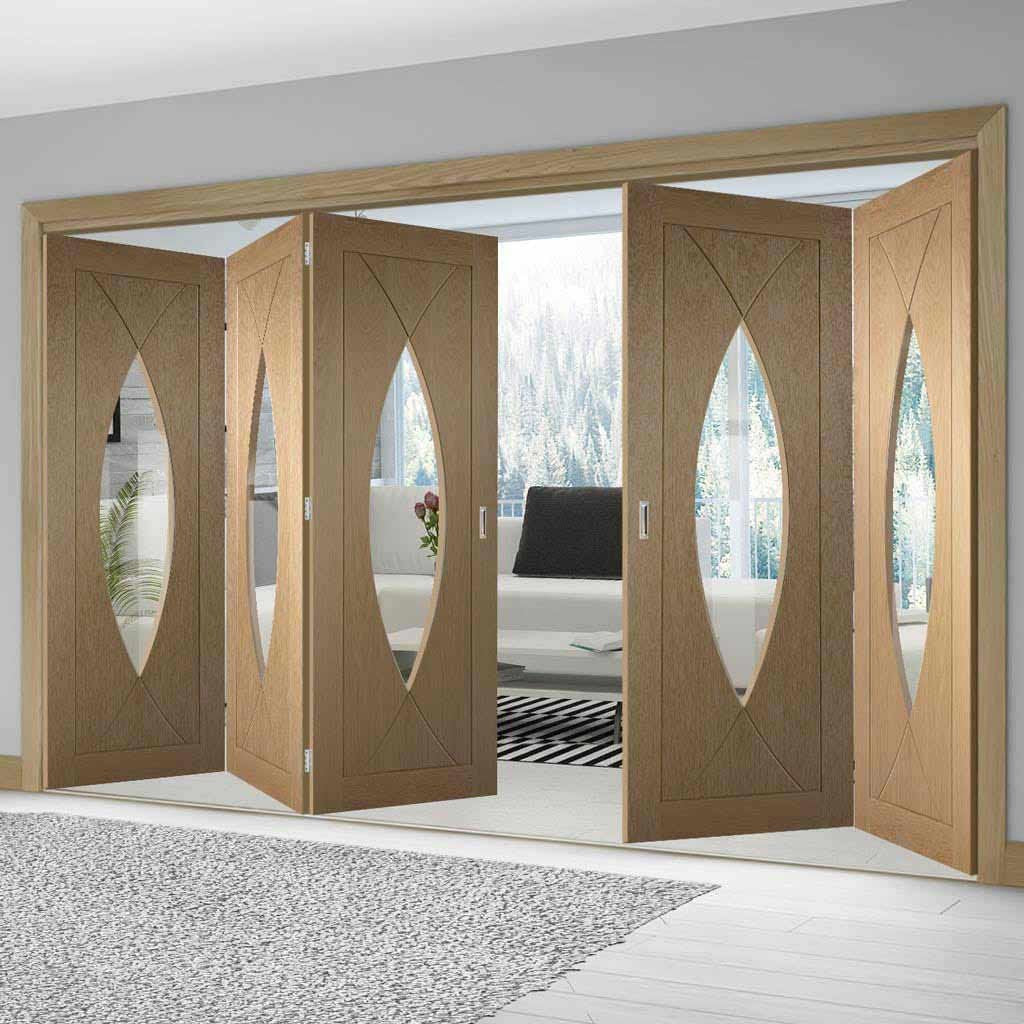 Five Folding Doors & Frame Kit - Pesaro Oak 3+2 - Clear Glass - Unfinished
