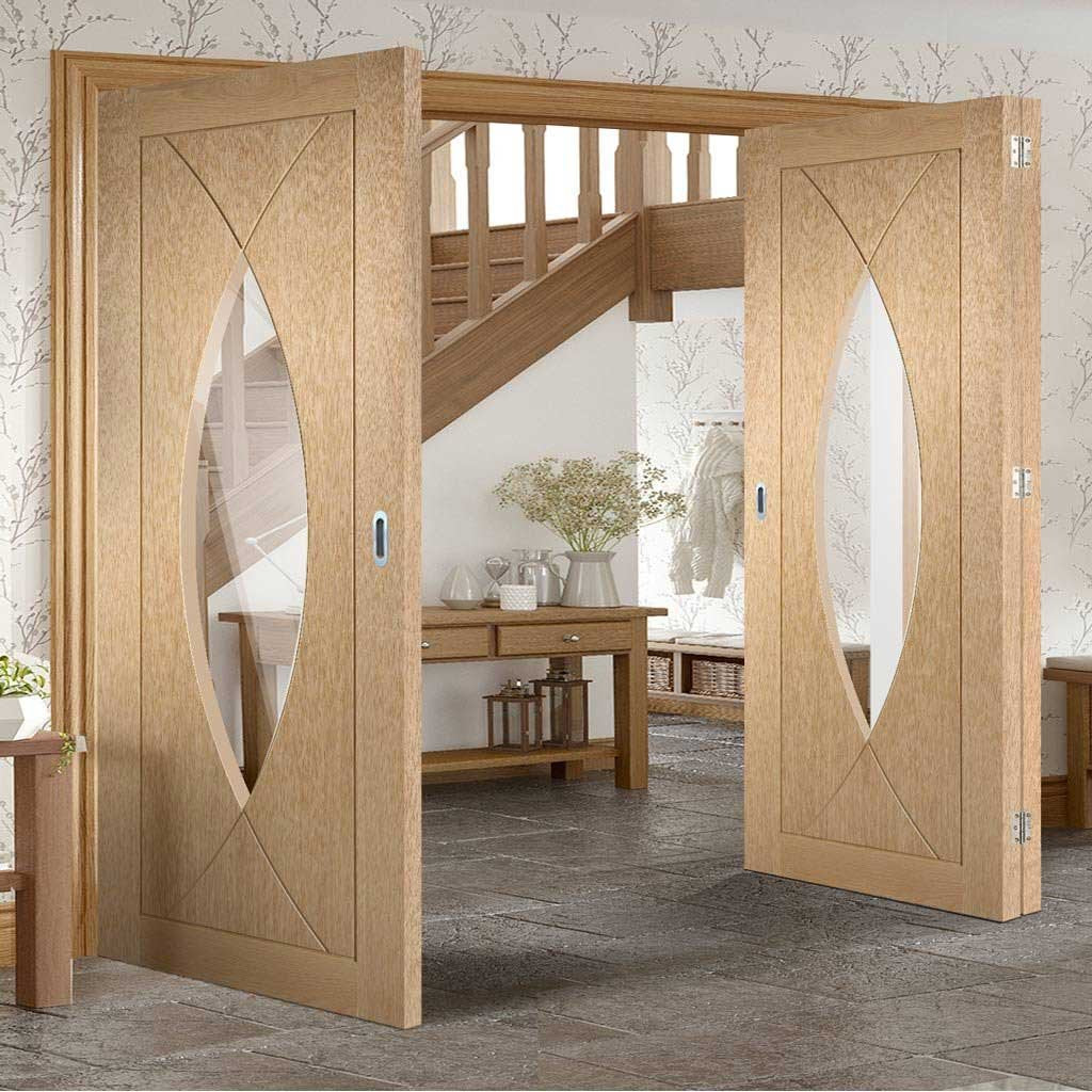 Bespoke Thrufold Pesaro Oak Glazed Folding 2+1 Door - Prefinished