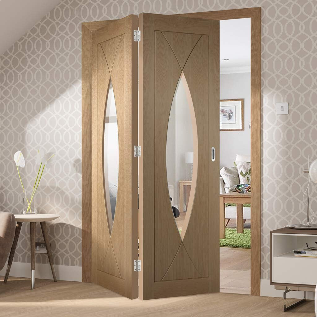 Bespoke Thrufold Pesaro Oak Glazed Folding 2+0 Door