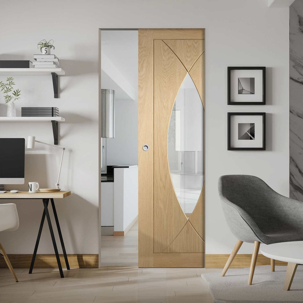 Pesaro Oak Absolute Evokit Pocket Door - Clear Glass - Prefinished