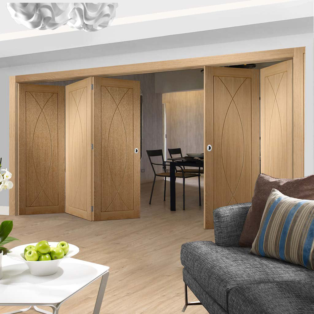 Bespoke Thrufold Pesaro Oak Flush Folding 3+3 Door - Prefinished