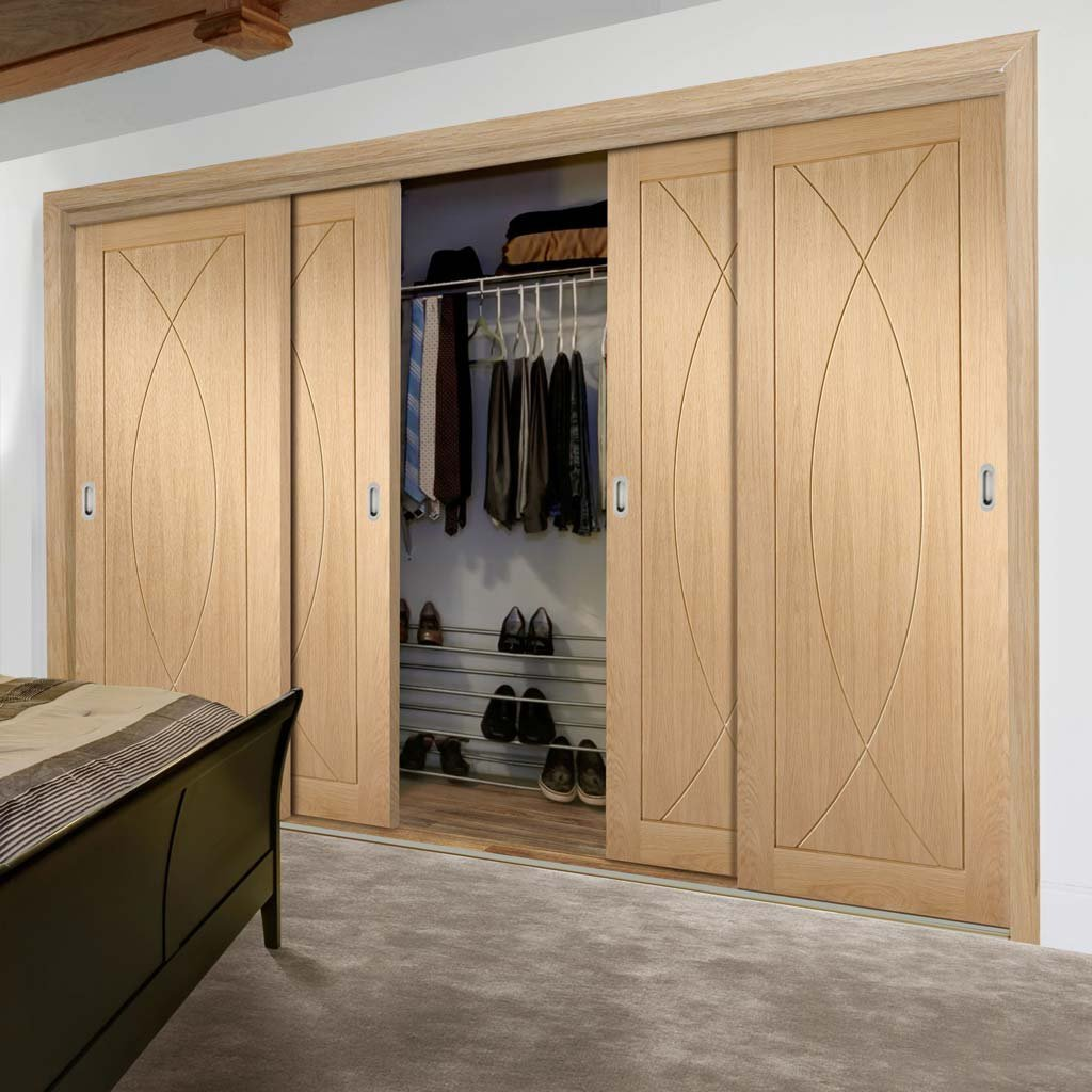 Minimalist Wardrobe Door & Frame Kit - Four Pesaro Oak Flush Doors - Unfinished