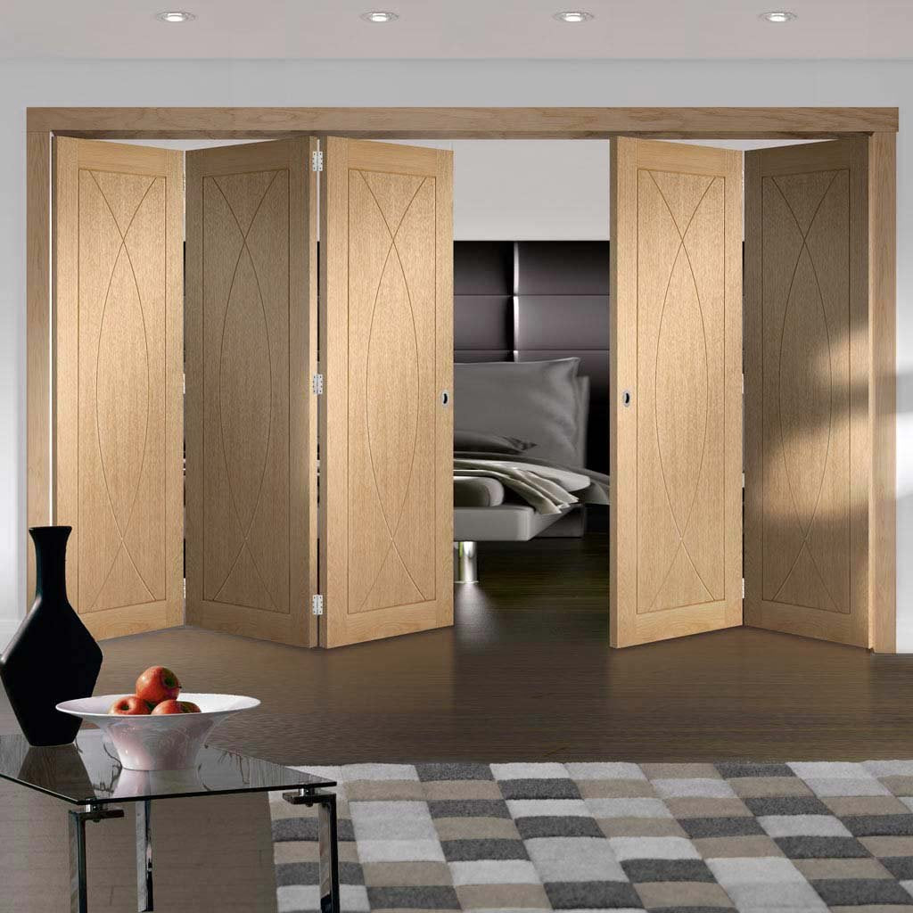 Five Folding Doors & Frame Kit - Pesaro Oak Flush 3+2 - Unfinished