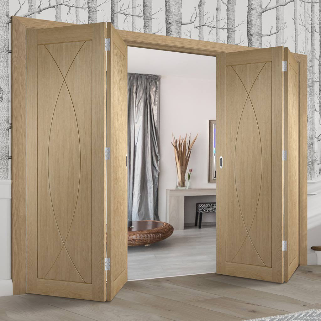 Four Folding Doors & Frame Kit - Pesaro Oak Flush 2+2 - Unfinished