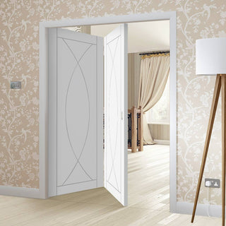 Image: Bespoke Thrufold Pesaro White Primed Flush Folding 2+0 Door