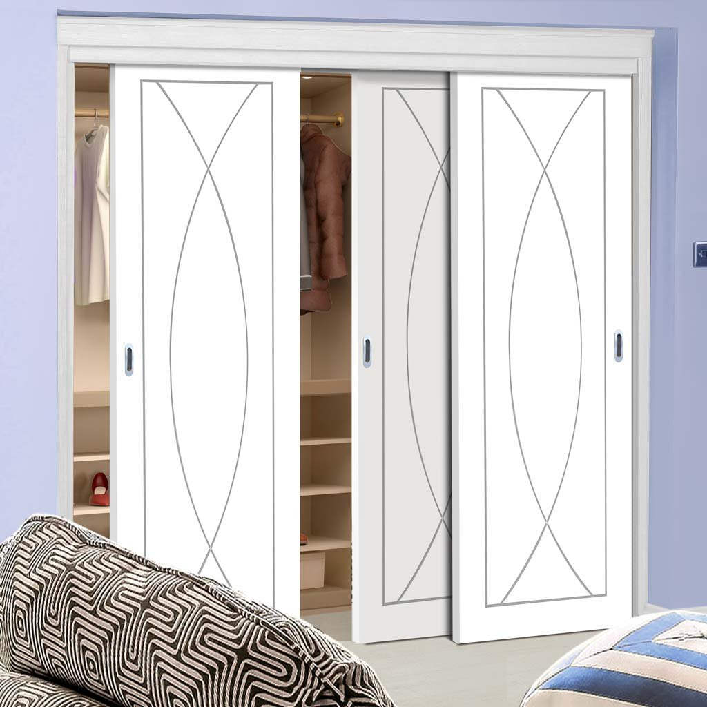 Bespoke Thruslide Pesaro Flush 3 Door Wardrobe and Frame Kit - White Primed