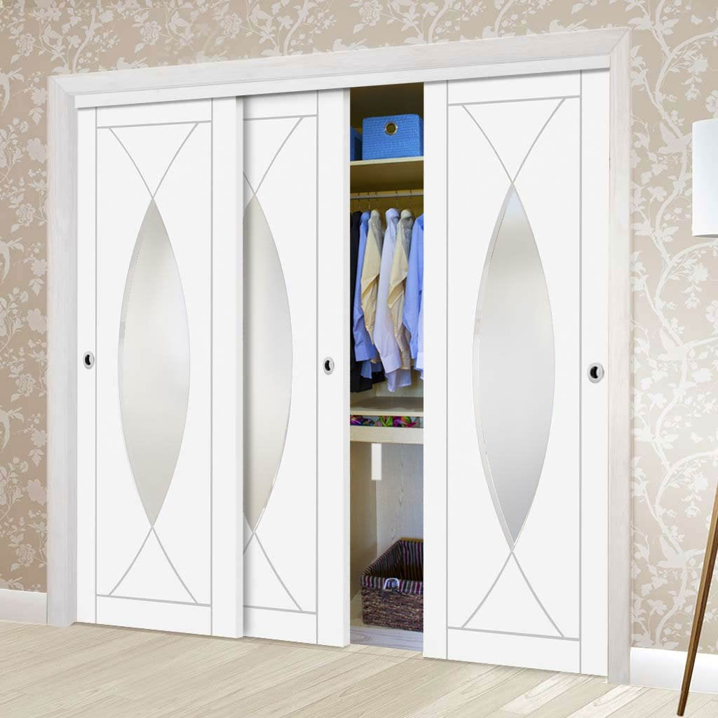 Bespoke Thruslide Pesaro Glazed 3 Door Wardrobe and Frame Kit - White Primed
