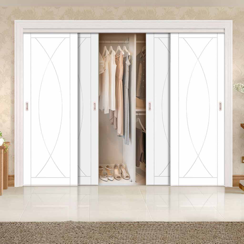 Thruslide Pesaro Flush 4 Door Wardrobe and Frame Kit - White Primed