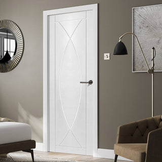 Image: Fire Proof Pesaro Flush Fire Door - 30 Minute Fire Rated - White Primed