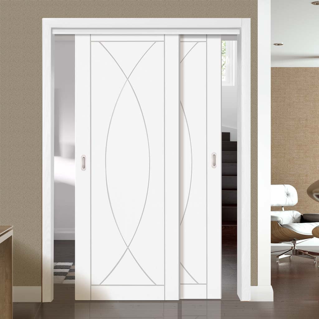 Two Sliding Doors and Frame Kit - Pesaro Flush Door - White Primed