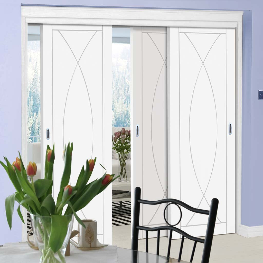 Three Sliding Doors and Frame Kit - Pesaro Flush Door - White Primed