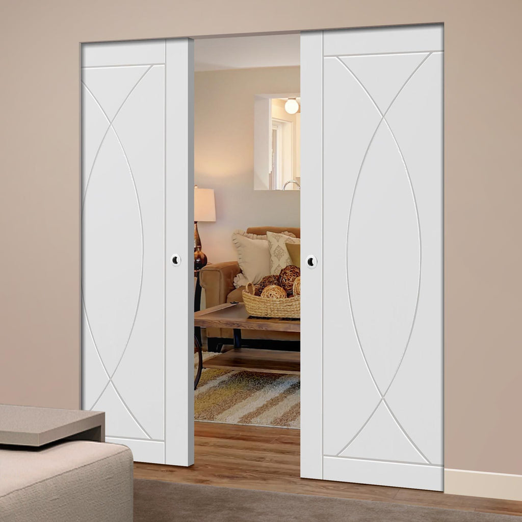 Bespoke Pesaro Flush Double Frameless Pocket Door - White Primed