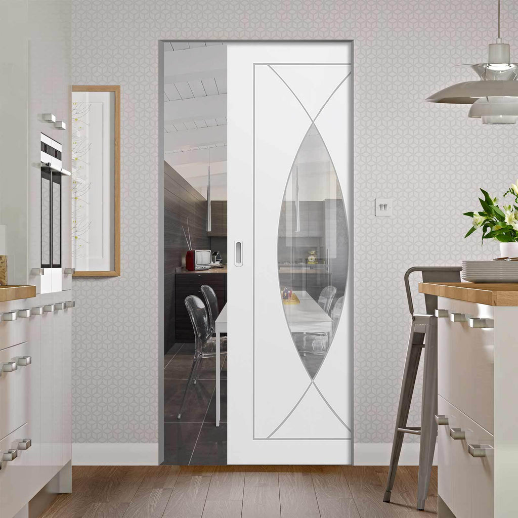 Bespoke Pesaro White Primed Glazed Single Frameless Pocket Door